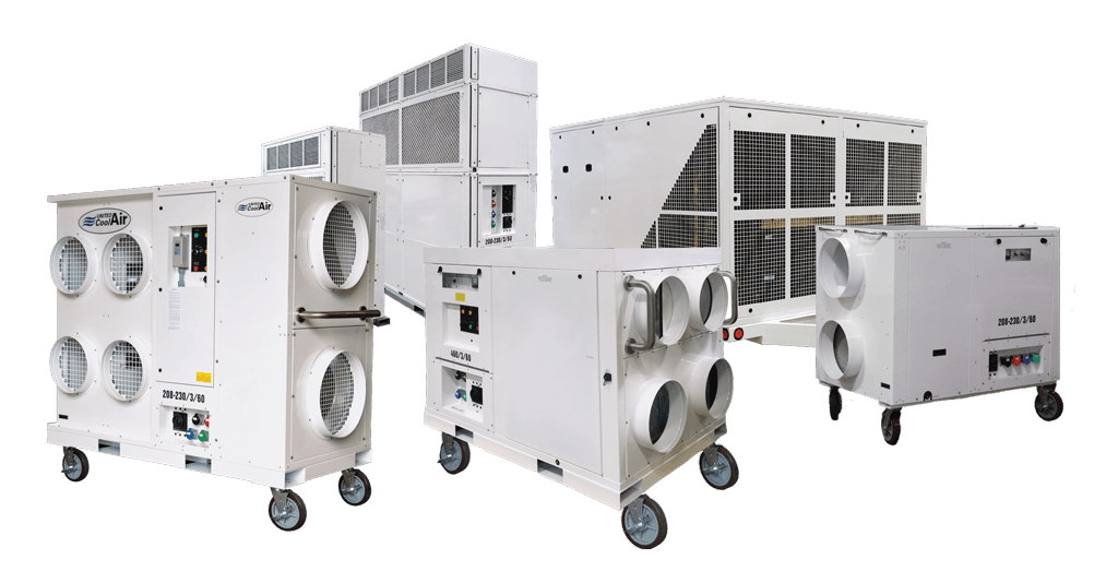 Emergency temporary cooling, heating units